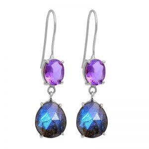 Amethyst Labradorite Gemstone 925 Sterling Silver Earrings CutE9