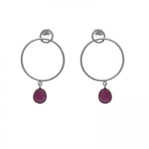 Oval Shape Ruby Gemstone 925 Silver Jewelry Earrings StudE7