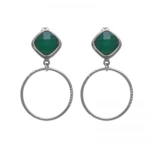 925 Sterling Silver Jewelry Square Shape Green Onyx Gemstone Earrings StudE8