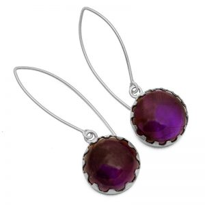 925 Sterling Silver Amethyst Cab Earrings CabE1