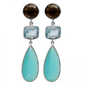 Smoky Quartz Topaz chalcedony Gemstone 925 Silver Stud Earrings StudE10