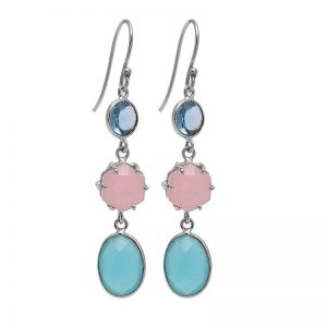 925 Sterling Silver Chalcedony Topaz Gemstone Handmade Earrings CutE5