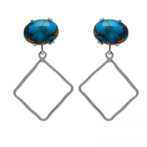 Blue Copper Turquoise Gemstone 925 Sterling Silver Stud Dangle Earrings StudE4