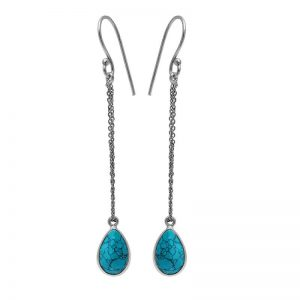 Pear Shape Turquoise Gemstone 925 Sterling Silver Chain Dangle Earrings