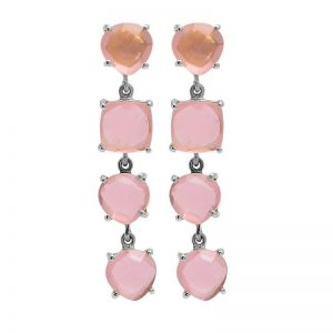 Prong Setting Pink Quartz Chalcedony Gemstone 925 Silver Stud Earrings StudE2