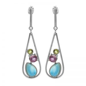 Peridot Amethyst Larimar Gemstone 925 Sterling Silver Earrings StudE6