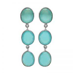 Aqua Chalcedony Oval Shape Gemstone 925 Sterling Silver Stud Earrings
