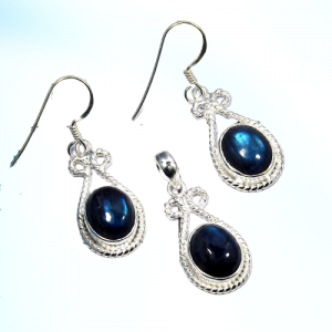 Labradorite Pendant & Earring 925 Sterling Silver Set NS1