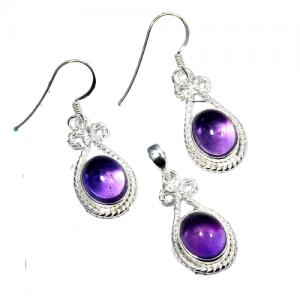 Amethyst Pendant & Earring 925 Sterling Silver Set NS2