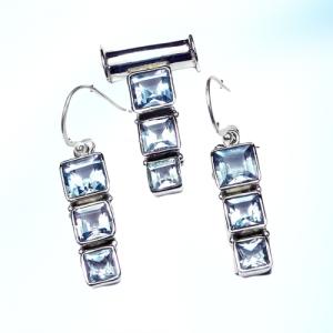 Swiss Blue Topaz Cut Pendant & Earring 925 Sterling Silver Set NS3
