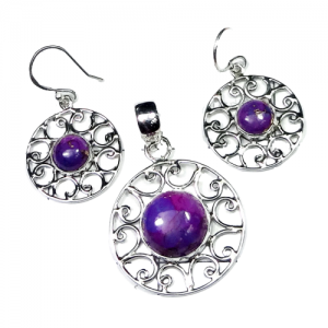 Purple Turquoise Cab Pendant & Earring 925 Sterling Silver Set NS8