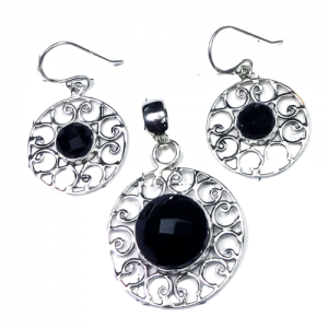 Checker Cut Black Onyx Pendant & Earring 925 Sterling Silver Set NS9