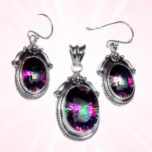 Royal Design Mystic Topaz Cut Pendant & Earring 925 Sterling Silver Set NS12