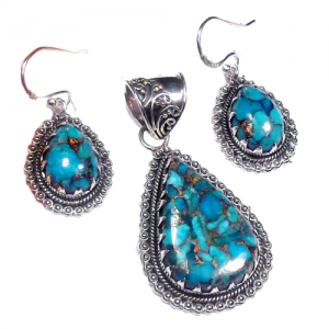 Blue Copper Turquoise Cab Pendant & Earring 925 Sterling Silver Set NS13