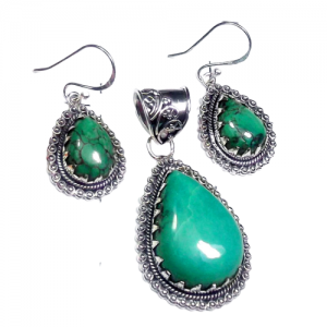 Real Tibetan Turquoise Cab Pendant & Earring 925 Sterling Silver Set NS14