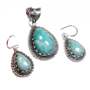 Dominican Larimar Cab Pendant & Earring 925 Sterling Silver Set NS15
