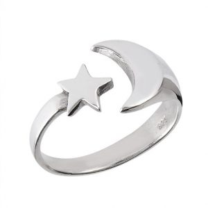 Unique Sterling Silver Moon and Star Ring PSR27