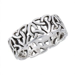 925 Sterling Silver Endless Triquetras Ring PSR7