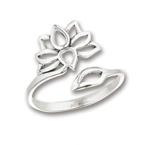 925 Sterling Silver Adjustable Lotus Flower Ring PSR51