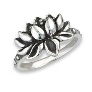 925 Sterling Silver Adjustable Lotus Flower Ring PSR52