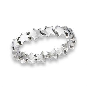 925 S Sterling Silver Chain of Heavy Stars Ring PSR57