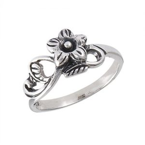 Sterling Silver Flower With Leaves Ring PSR13