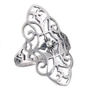 Sterling Silver Filigree With Scroll Ring PSR18