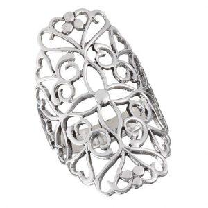 925 Sterling Silver Large Filigree Ring PSR17