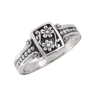 Sterling Silver Flower With Scroll And Dots Ring PSR14