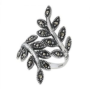 Sterling Silver Leaf Ring with Marcasite PSR2