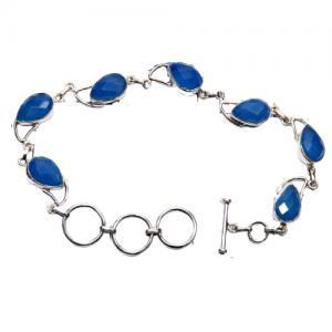Blue Chalcedony - CutB2 -Semiprecious Cut Gemstone 925 Sterling Silver Bracelet