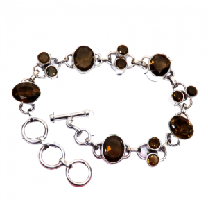 Smoky Quartz - CutB1 -Semiprecious Cut Gemstone 925 Sterling Silver Bracelet