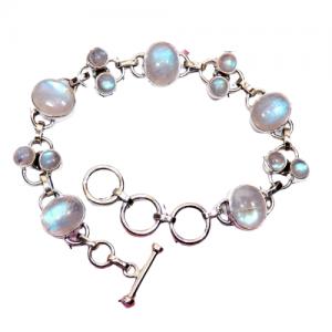Rainbow Moonstone - CabB6 -Semiprecious Cab Gemstone 925 Sterling Silver Bracelet