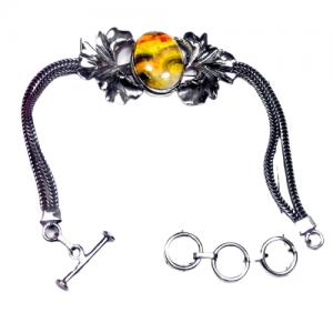 925 Manufacturer Designer Silver Bumblebee Bracelet CabB4
