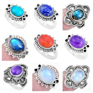 Multi Gemstone Handmade 100 Grams Wholesale Rings Bulk Lot WHR18