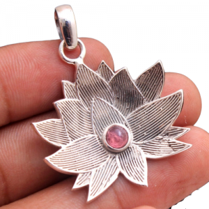 "NATURAL PINK TOURMALINE LOTUS DESIGN 925 SILVER 1.7"" PENDANT"