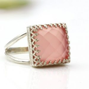 Pink Chalcedony Checker Cut 925 Sterling Silver Ring CutR1
