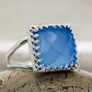 Blue Chalcedony Checker Cut 925 Sterling Silver Ring CutR2