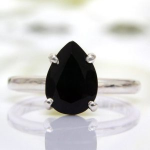 Black Onyx Cut Gemstone 925 Sterling Silver Ring CutR3