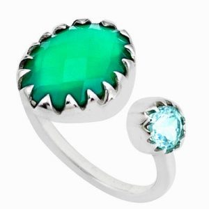 Checker Cut Green Chalcedony & Blue Topaz 925 Silver Handmade Ring