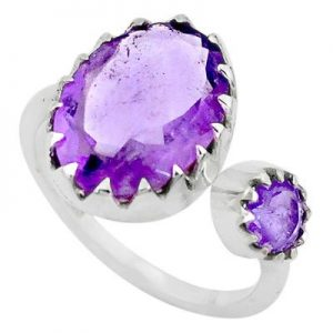 Adjustable Amethyst Cut GemStone 925 Silver Handmade Ring