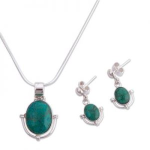 Chrysocolla Jewelry set Unique 925 Sterling Silver NS25