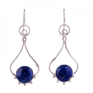 India Artisan Jewelry Sterling Silver 925 Lapis Earrings CabE6