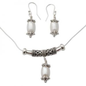 Fair Trade Pearl Pendant & Earring 925 Sterling Silver Set NS21