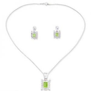 Delicate Peridot Jewelry set Unique 925 Sterling Silver NS27