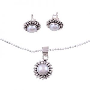 Handcrafted Pearl Gemstone Jewelry set 925 Sterling Silver NS28