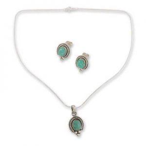 Turquoise Cab Designer Pendant & Earring 925 Sterling Silver Set NS20