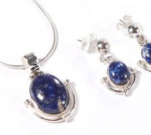 Lapis Lazuli Jewelry set Unique 925 Sterling Silver NS26