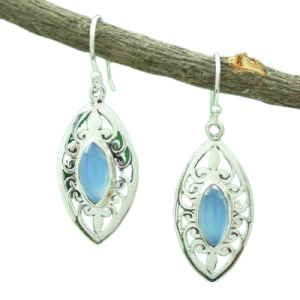 Blue Chalcedony Sterling Silver 925 Earrings CabE7