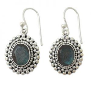 Artisan Crafted Cut Labradorite and 925 Sterling Silver Dangle Earrings CutE12